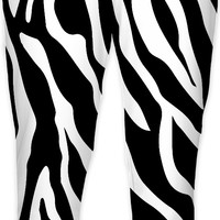 Tiger stripes pattern joggers, animal fur themed jogging sweats, black and white