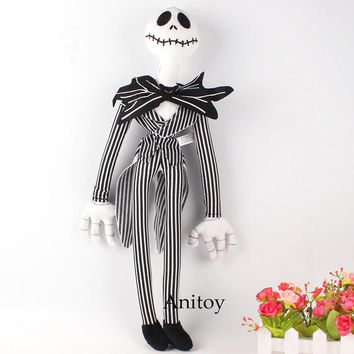 Kawaii Anime Plush Toy The Nightmare Before Christmas Jack Skellington Plush Fabric Doll Stuffed Toys for Children 49cm