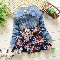 New Spring Girls cowboy dress cotton babi Girls autumn kids girls dress 2 colors Denim dress