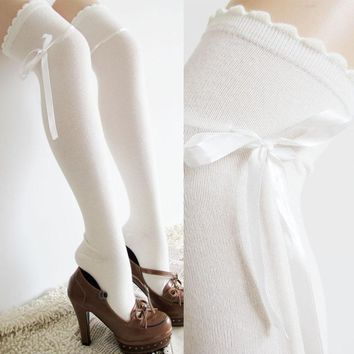 White Lace Ruffle Over The Knee Thigh Socks - Women High Socks