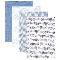 Hudson Baby 4 Piece Muslin Swaddle Blanket, Blue