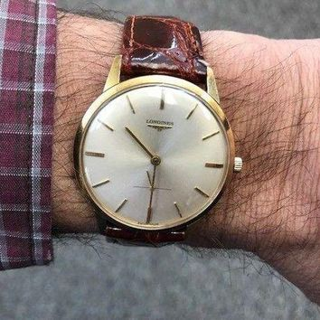 ONETOW CLASSIC AUTHENTIC LONGINES 18K SOLID GOLD VINTAGE MANUAL WIND SWISS GENTS WATCH