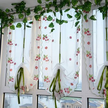 100 x 80cm Strawberry Print Window Curtain Panel Screen Roman Room Divider Scarf