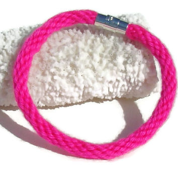 Cozy Collection-- Neon pink kumihimo bracelet with magnetic clasp