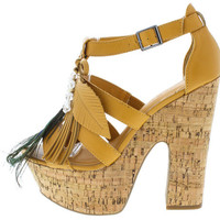 DENDA2 TAN FEATHER CORK PLATFORM HEEL