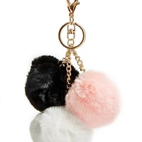 Pom Trio Keychain at Guess