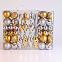 90 Piece Silver & Gold Ornament Kit