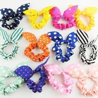 10 pieces Girls Rabbit Ear Hair Tie Bands Accessories Japan Korean Style Ponytai