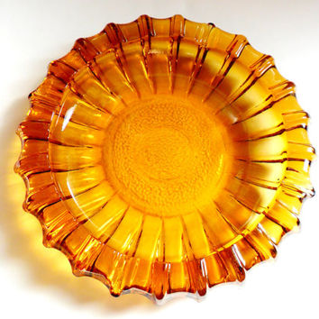 Vintage Blenko Topaz Glass Ashtray Large Pressed Glass Amber Yellow Orange Mad Men Mid Century Modern Art Glass Trinket Bowl 1960s