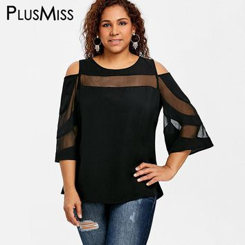 PlusMiss Plus Size 5XL Sexy Mesh Sheer Top Women Clothes Summer 2018 Black Cold Shoulder Flare Sleeve Blouse Big Size Blusas