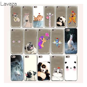 Lavaza 44FF Horse Unicorn panda Cat Bulldog Hard Case For iPhone 8 7 6 6s Plus 5 5s 5C SE 4 4S cover X 10