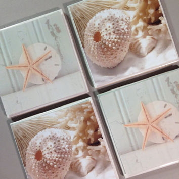 Beach ceramic coasters, seaside coasters, sepia coasters, starfish coasters, ocean, sunshine, ceramic coasters, cork backing, housewarming