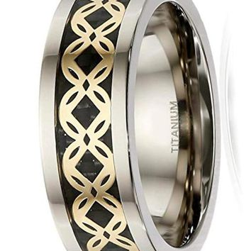 CERTIFIED 8mm Men's Tri-Color Titanium Carbon Fiber and Clover Pattern Inlay Ring