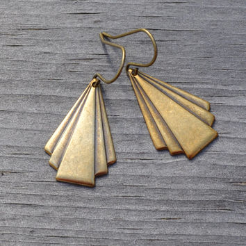 Brass Triangle Earrings, Art Deco Brass, Geometric Earrings, French Wire or Lever Back, Gift Under 20