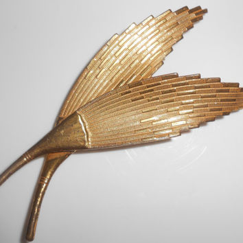 Miriam Haskell Feather Double Brooch Pin