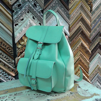 Backpack Handmade Turquoise Leather Small one pocket