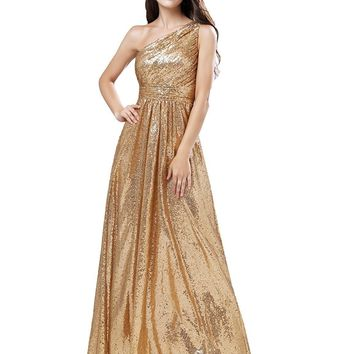 Womens Empire Waist Sequin Prom Party Dress One Shoulder Bridesmaid Maxi Gown