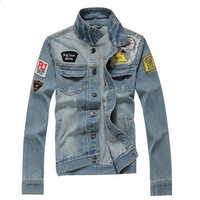 Men's Vintage Casual Cool Embroidered Denim Jacket Outwear