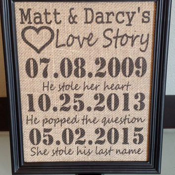 Framed Burlap Print - Important Date Frame - Our Love Story - Stole his last name - Anniversary - Customizable - Dates - Family - 8x10