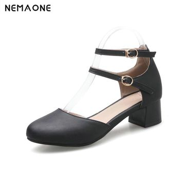 Sexy rouned Toe low Heels Pumps ankle strap summer Shoes 2018 Newest Woman's square Heels Shoes casual Shoes