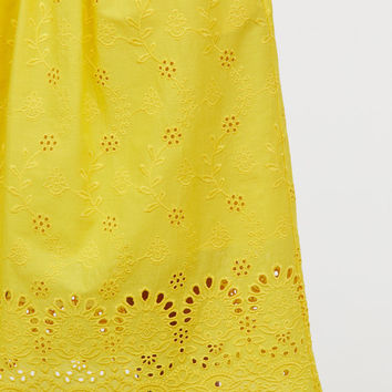 Skirt with Eyelet Embroidery - Bright yellow - Ladies | H&M US
