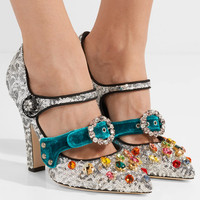 Dolce & Gabbana - Embellished velvet-trimmed sequined Mary Jane pumps