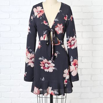 Gray Floral Long Sleeve Mini Dress