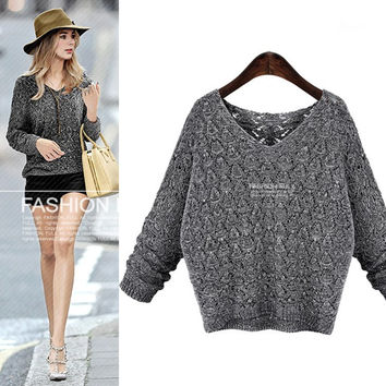 Autumn Knit Tops Korean Hollow Out V-neck Batwing Sleeve Blouse [6281581572]