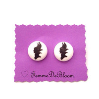 Handmade Sleeping Beauty's Maleficent Silhouette Fabric Button Earrings
