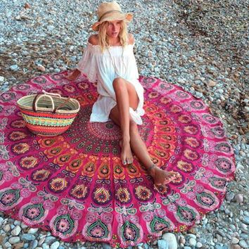 1 PC Indian Mandala Round Tapestry Wall Hanging Beach Throw Towel Yoga Mat Boho Decor