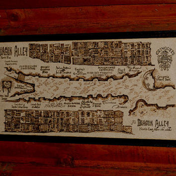 Diagon Alley map   woodburned home decoration by BaconFactory