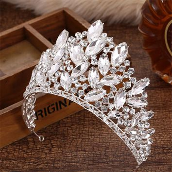 Joyme New Baroque Luxury Bridal Accessories Full Crystal Big Crown Wedding Party Prom King Queen Tiaras and Crowns Hair Jewelry