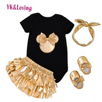2017 Baby Girl Clothes 4pcs Clothing Sets Black Cotton Rompers Golden Ruffle Bloomers