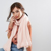 Willow and Paige Oversized Scarf with Frill Detail at asos.com