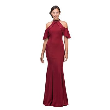 CLEARANCE - Cold Shoulder High Neckline Mermaid Prom Gown Burgundy (Size XS)