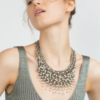 STONE AND METALLIC MESH NECKLACE