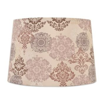Mix & Match Medium 15-Inch Damask Floral Lamp Shade in Brown