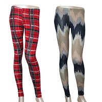 Sexy Plaid & Chevron Print Ankle Length High Waist Stretch Spandex Leggings