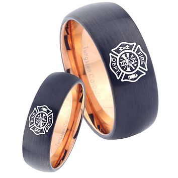 His Hers Fire Departments Dome Tungsten Rose Gold Promise Ring Set