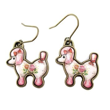 French Poodle Puppy Shaped Dangle Drop Earrings in Pink | Animal Jewelry