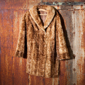 Vintage woman's rabbit fur coat brown rabbit fur coat genuine leather coat rabbit coat soviet rabbit coat woman genuine leather winter coat