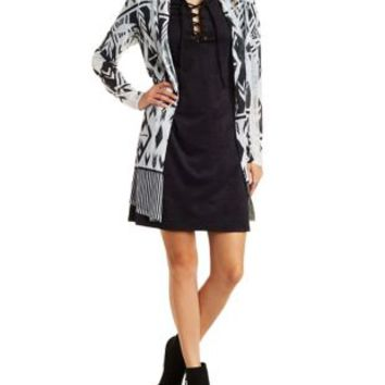 Black Combo Sheer Geometric Print Duster Cardigan by Charlotte Russe