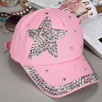 Hot Amazing Colors Fashion Hats Children Kids Baseball Cap Rhinestone Star Shaped Boy Girls Snapback Hat Summer Sun Cap SV005463