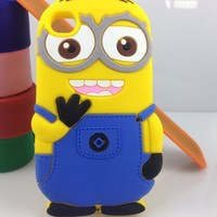 Case Mama Despicable Me Yellow Minions 3D Soft Silicone Case Defender Cover (iPhone4 4s Two Eyes)