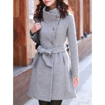 Grey Women Slim long-sleeved Thick Woolen Jacket Coat M/L MM0434g = 1930102660