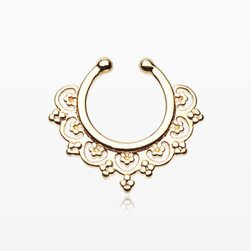 Golden Celestial Filigree Fake Septum Clip-On Ring