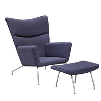 Wing Chair and Ottoman in Wool, Gray