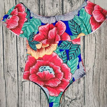 2018 Women Off Shoulder Swimsuit One Piece Swimsuit Ruffle Floral Swimwear Women Strapless Beach Wear Monokini