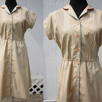50s Day Dress M / 50s Waitress Diner Dress Pinup