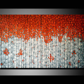 Original Modern Fine Art 40x24 Home Decor, Abstract, Red  Birch Tree Acrylic Painting, Heavy Texture Aspen Trees Artwork, great gift